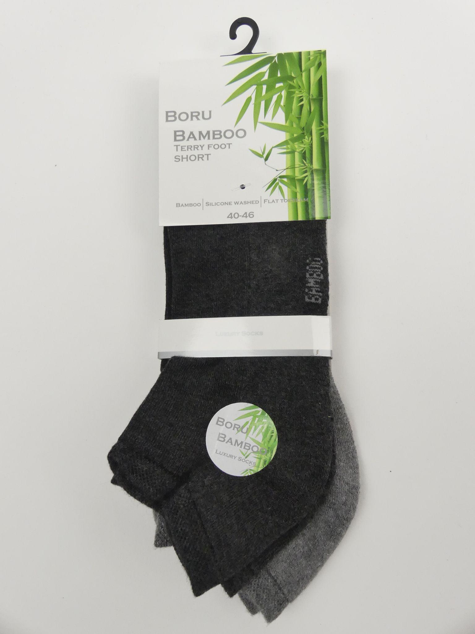 Bamboe sokken heren badstof enkelsok 2-pak